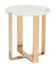 Atlas End Table Stone & Chrome Stainless Steel, Faux Marble