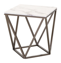 Tintern End Table Stone & Brass, Faux Marble