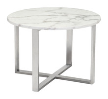 Globe End Table Stone & SS, Faux Marble