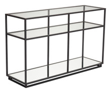 Kure Console Table-Distressed Black, Glass