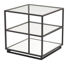 Kure End Table-Distressed Black, Glass