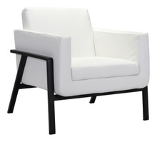 Homestead Lounge Chair White Pu, Faux Leather