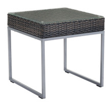 Malibu Side Table Brown & Silver, Rattan