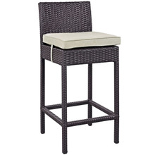 Convene Outdoor Patio Fabric Bar Stool, Beige, Rattan 9621