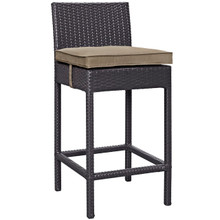 Convene Outdoor Patio Fabric Bar Stool, Brown, Rattan 9622