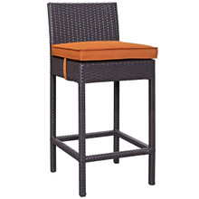 Convene Outdoor Patio Fabric Bar Stool, Orange, Rattan 9623