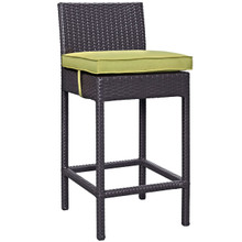 Convene Outdoor Patio Fabric Bar Stool, Green, Rattan 9624
