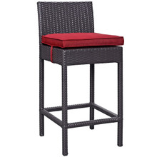 Convene Outdoor Patio Fabric Bar Stool, Red, Rattan 9625