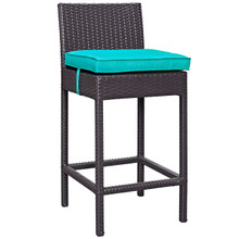 Convene Outdoor Patio Fabric Bar Stool, Blue, Rattan 9626