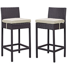 Lift Bar Stool Outdoor Patio Set of 2, Beige, Rattan 9630