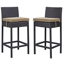 Lift Bar Stool Outdoor Patio Set of 2, Brown, Rattan 9631
