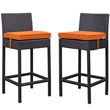 Lift Bar Stool Outdoor Patio Set of 2, Orange, Rattan 9632