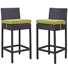 Lift Bar Stool Outdoor Patio Set of 2, Green, Rattan 9633