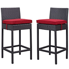 Lift Bar Stool Outdoor Patio Set of 2, Red, Rattan 9634