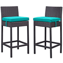 Lift Bar Stool Outdoor Patio Set of 2, Blue, Rattan 9635