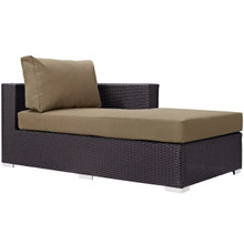 Convene Outdoor Patio Fabric Right Arm Chaise, Brown, Rattan 9695