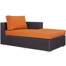 Convene Outdoor Patio Fabric Right Arm Chaise, Orange, Rattan 9696