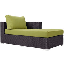 Convene Outdoor Patio Fabric Right Arm Chaise, Green, Rattan 9697