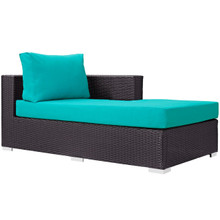 Convene Outdoor Patio Fabric Right Arm Chaise, Blue, Rattan 9699