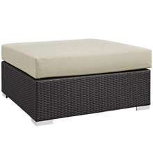Convene Outdoor Patio Large Square Ottoman, Beige, Rattan 9708