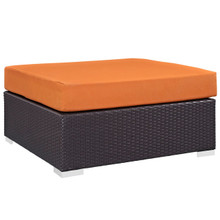 Convene Outdoor Patio Large Square Ottoman, Orange, Rattan 9710