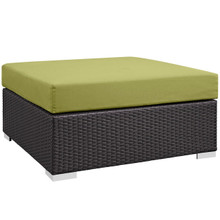 Convene Outdoor Patio Large Square Ottoman, Green, Rattan 9711