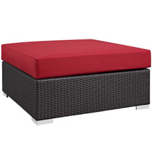 Convene Outdoor Patio Large Square Ottoman, Red, Rattan 9712