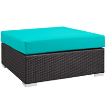 Convene Outdoor Patio Large Square Ottoman, Blue, Rattan 9713