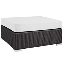Convene Outdoor Patio Large Square Ottoman, White, Rattan 9714