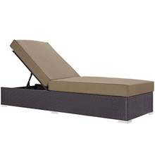 Convene Outdoor Patio Chaise Lounge, Brown, Rattan 9716