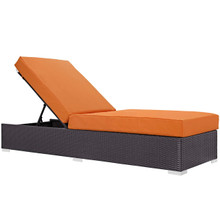 Convene Outdoor Patio Chaise Lounge, Orange, Rattan 9717