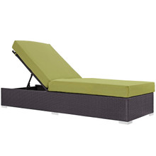 Convene Outdoor Patio Chaise Lounge, Green, Rattan 9718