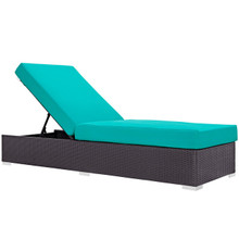 Convene Outdoor Patio Chaise Lounge, Blue, Rattan 9720