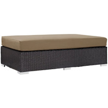 Convene Outdoor Patio Fabric Rectangle Ottoman, Brown, Rattan 9723
