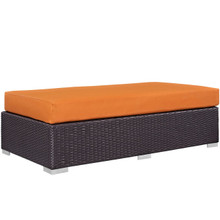 Convene Outdoor Patio Fabric Rectangle Ottoman, Orange, Rattan 9724