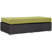 Convene Outdoor Patio Fabric Rectangle Ottoman, Green, Rattan 9725