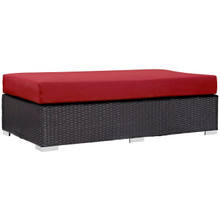 Convene Outdoor Patio Fabric Rectangle Ottoman, Red, Rattan 9726