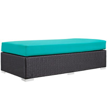 Convene Outdoor Patio Fabric Rectangle Ottoman, Blue, Rattan 9727