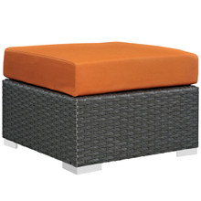 Sojourn Outdoor Patio Sunbrella Ottoman, Orange, Rattan 9740