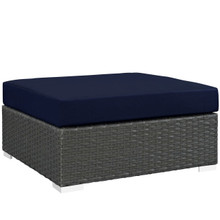 Sojourn Outdoor Patio Sunbrella Square Ottoman, Navy, Rattan 9756