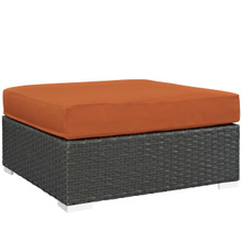 Sojourn Outdoor Patio Sunbrella Square Ottoman, Orange, Rattan 9757