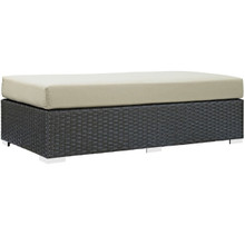 Sojourn Outdoor Patio Fabric Sunbrella Rectangle Ottoman, Beige, Rattan 9761