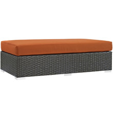 Sojourn Outdoor Patio Fabric Sunbrella Rectangle Ottoman, Orange, Rattan 9763