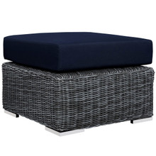 Summon Outdoor Patio Sunbrella Ottoman, Navy, Rattan 9771