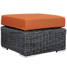 Summon Outdoor Patio Sunbrella Ottoman, Orange, Rattan 9772