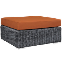 Summon Outdoor Patio Sunbrella Square Ottoman, Orange, Rattan 9789