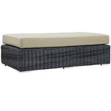 Summon Outdoor Patio Sunbrella Rectangle Ottoman, Beige, Rattan 9792