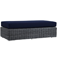 Summon Outdoor Patio Sunbrella Rectangle Ottoman, Navy, Rattan 9793