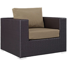 Convene Outdoor Patio Armchair, Brown, Rattan 9870