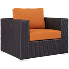Convene Outdoor Patio Armchair, Orange, Rattan 9871
